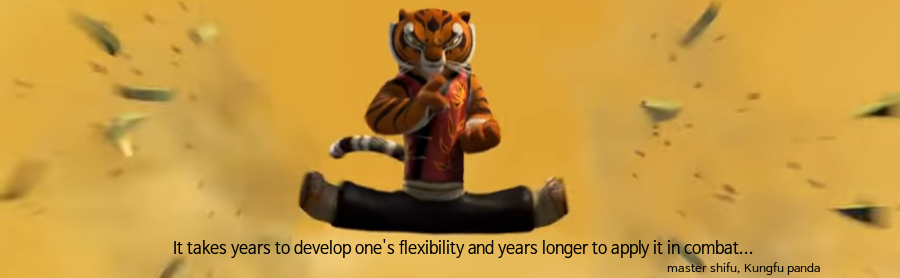 it gain years to form one's flexibility aand years longer to practice it in fight!